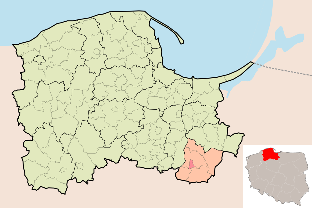 Map of Poland showing Kwidzyn