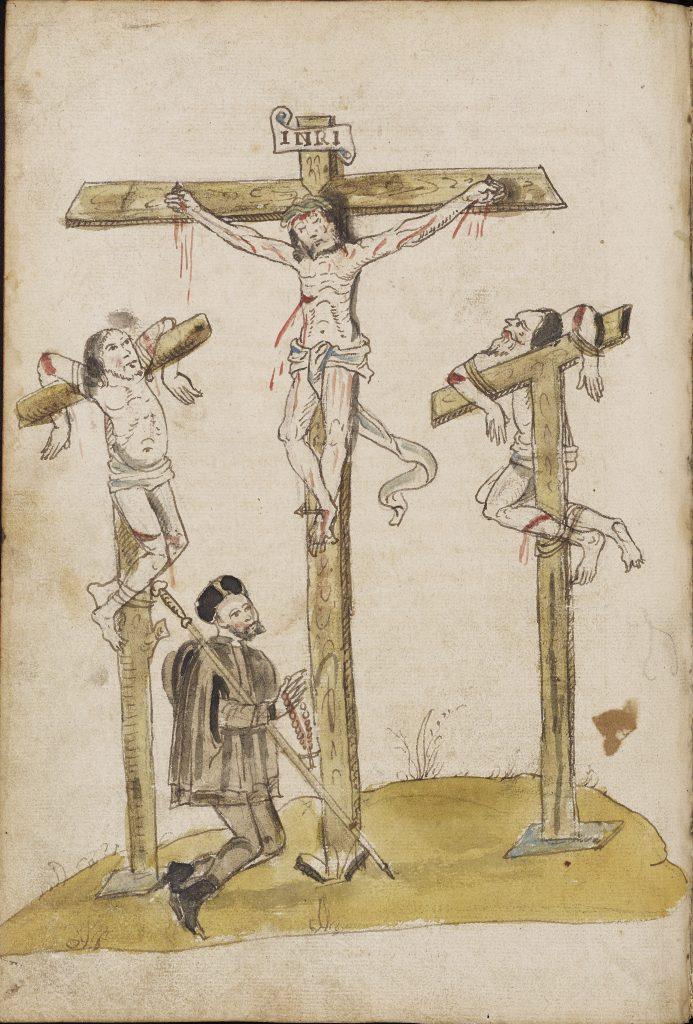 Sixteenth-century pen and wash drawing of Calvary with pilgrim praying