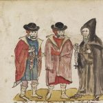 Sixteenth-century pen and wash depiction of three figures representing Greek Christians