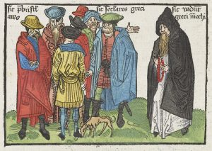 Fifteenth-century woodcut, coloured, with group representing Greek Christians