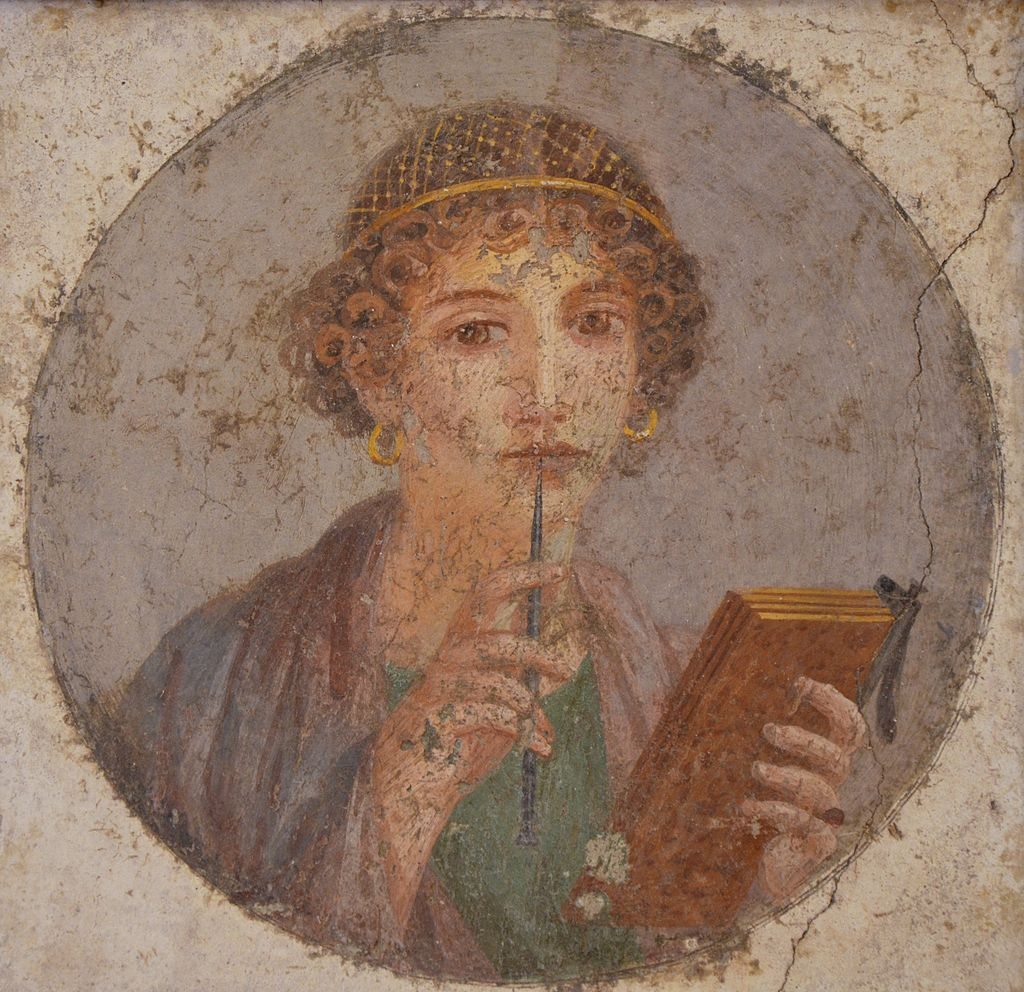 "Tondo of woman with wax tablets and stylus (so-called ""Sappho"")."