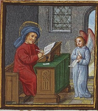 The Evangelist St. Matthew writing, with his symbol the angel.