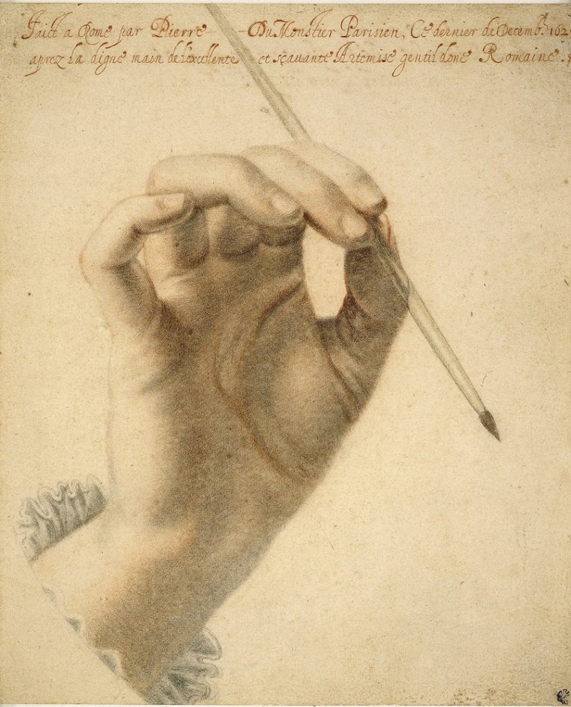 Study of a woman's right hand (said to be that of Artemesia Gentileschi) holding a brush'.